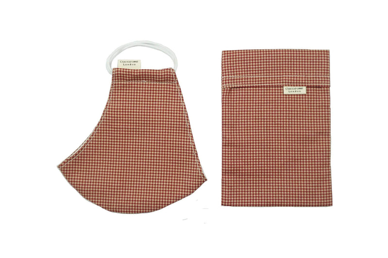 Cotton Face Mask with Filter Pocket and Matching Pouch - Gingham Terracotta