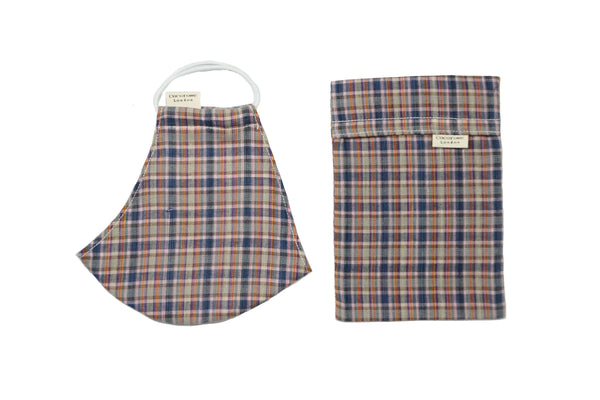 Cotton Face Mask with Filter Pocket and Matching Pouch - Tartan