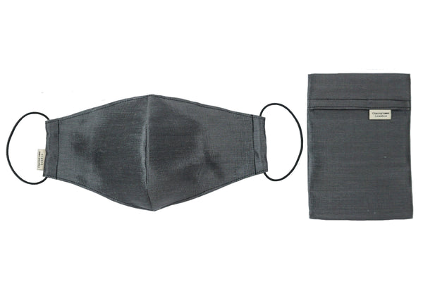 Beautiful dark grey slate fine silk facemask with filter pocket and matching silk pouch carry case