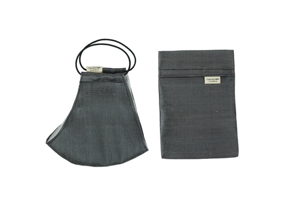 Dark grey silk face mask with adjustable ear loops and filter pockets and complete with a matching storage pouch