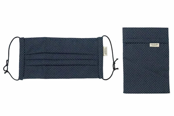 Pleated Cotton Face Mask with Nose Wire and Matching Pouch - Navy Polka Dots