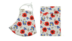 Cotton Face Mask with Filter Pocket and Matching Pouch - Poppies and Daisies