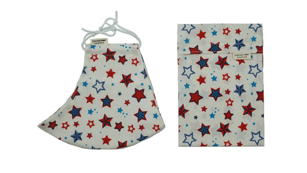 Cotton Face Mask with Filter Pocket and Matching Pouch - Red, White & Blue Stars