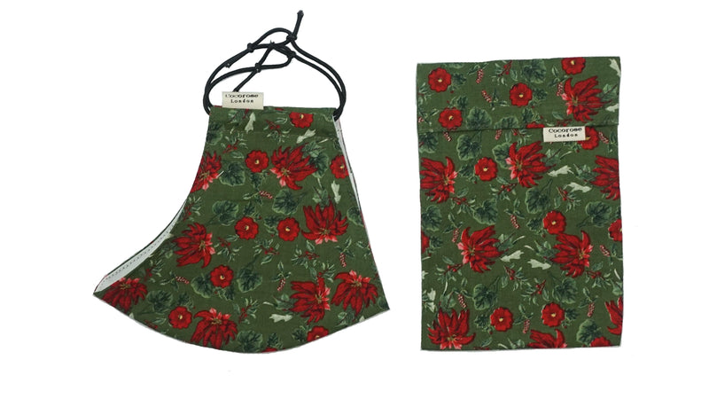 Cotton Face Mask with Filter Pocket and Matching Pouch - Christmas Poinsettia