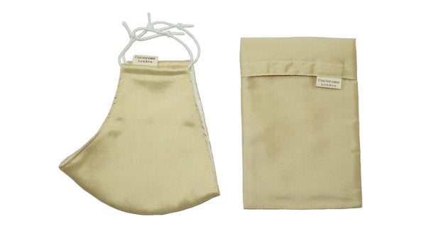 Silk Face Mask with Filter Pocket and Matching Pouch - Light Gold Sand