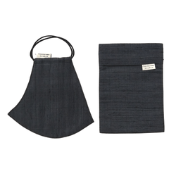 Silk Face Mask with Filter Pocket and Pouch - Charcoal