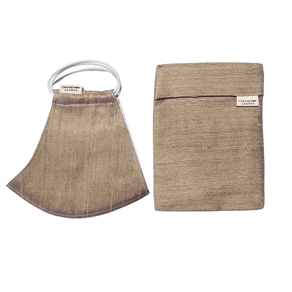Silk Face Mask with Filter Pocket and Matching Pouch - Champagne