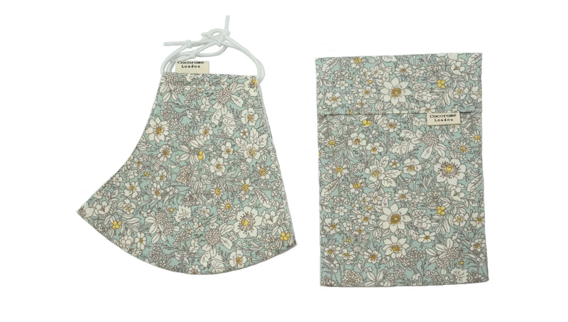 Cotton Face Mask with Filter Pocket and Matching Pouch - Sophie Blue