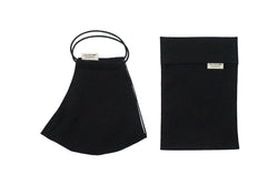 Cotton Face Mask with Filter Pocket and Matching Pouch - Plain Black
