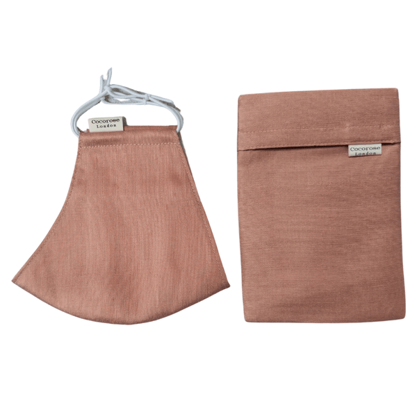 Silk Face Mask with Filter Pocket and Matching Pouch - Blush Bronze