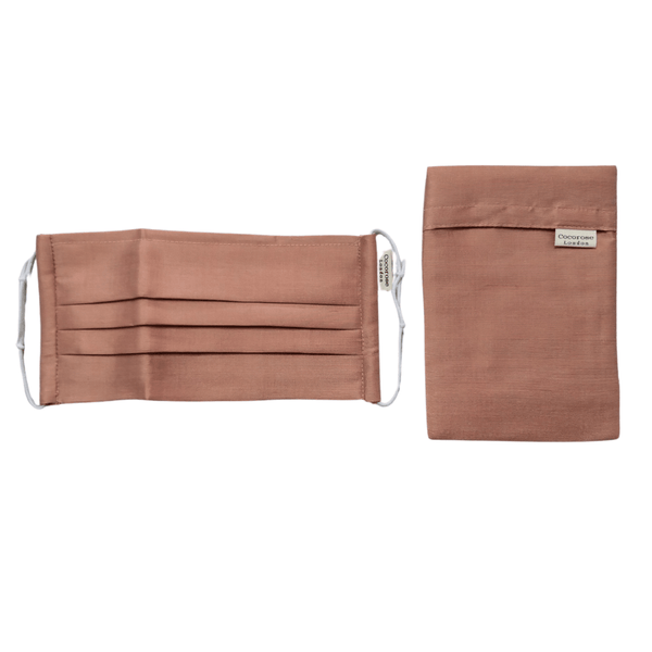 Pleated Silk Face Mask with Nose Wire and Matching Pouch - Blush Bronze