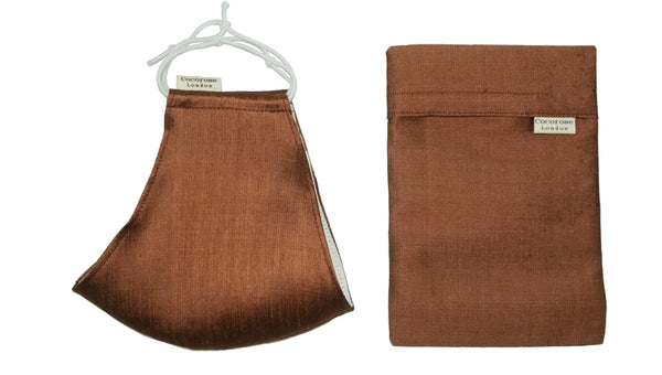 Silk Face Mask with Filter Pocket and Matching Pouch - Bronze