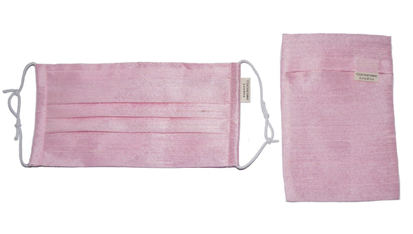Pleated Silk Face Mask with Nose Wire and Matching Pouch - Pink