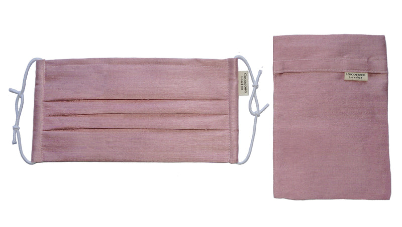 Pleated Silk Face Mask with Nose Wire and Matching Pouch - Blush