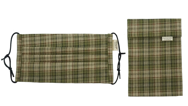 Pleated Cotton Face Mask with Nose Wire and Matching Pouch - Autumn Tartan