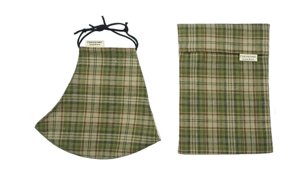 Cotton Face Mask with Filter Pocket and Pouch - Autumn Tartan