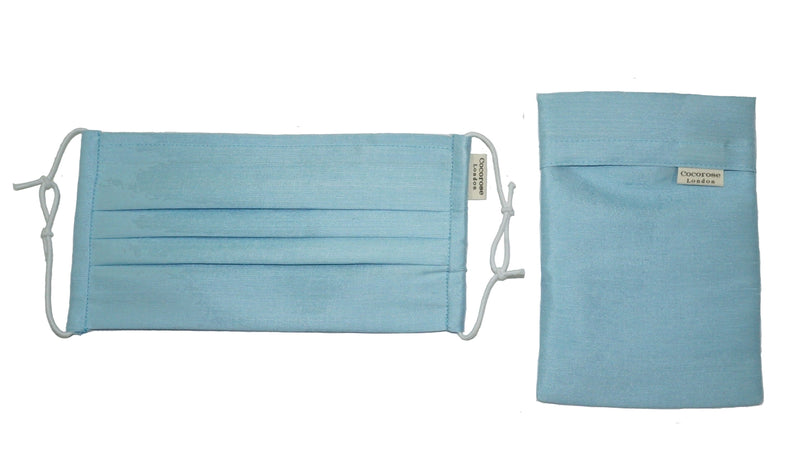 Pleated Silk Face Mask with Nose Wire and Matching Pouch - Sky Blue