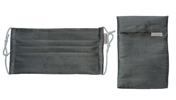 Pleated Silk Face Mask with Nose Wire and Matching Pouch - Dark Grey