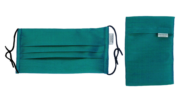 Pleated Silk Face Mask with Nose Wire and Matching Pouch - Emerald Green