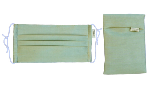 Pleated Silk Face Mask with Nose Wire and Matching Pouch - Sage Green