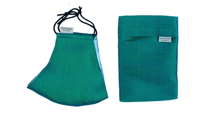 Silk Face Mask with Filter Pocket and Matching Pouch - Emerald Green