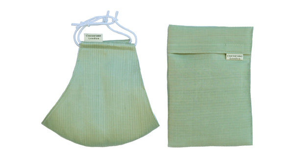 Silk Face Mask with Filter Pocket and Matching Pouch - Sage Green
