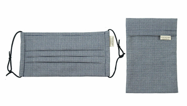 Pleated Cotton Face Mask with Nose Wire and Matching Pouch - Gingham Navy Cocorose London