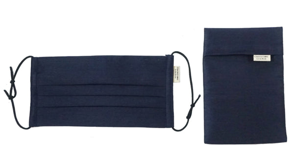Pleated Cotton Face Mask with Nose Wire and Matching Pouch - Plain Navy Cocorose London