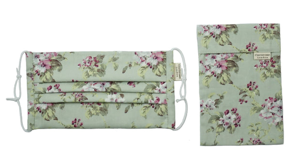 Pleated Cotton Face Mask with Nose Wire and Matching Pouch - Floral Print Sage