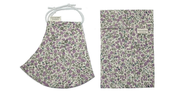 Cotton Face Mask with Filter Pocket and Pouch - Laura Lavender