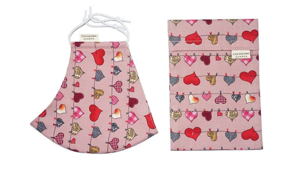 Accessories Cotton Face Mask with Filter Pocket and Pouch - Heart Bunting Pink Cocorose London