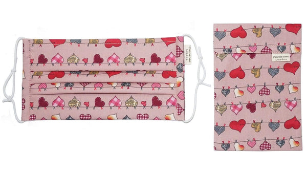 Accessories Pleated Cotton Face Mask with Nose Wire and Matching Pouch - Heart Bunting Pink Cocorose London