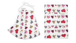 Accessories Cotton Face Mask with Filter Pocket and Pouch - Heart Bunting White Cocorose London