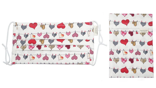 Accessories Pleated Cotton Face Mask with Nose Wire and Matching Pouch - Heart Bunting White Cocorose London