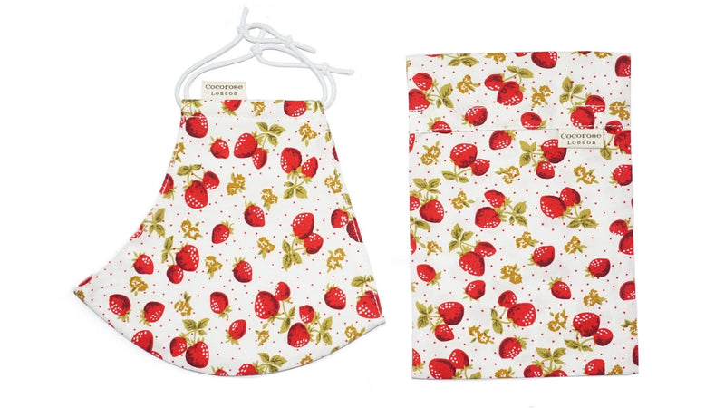 Cotton Face Mask with Filter Pocket and Pouch - Strawberries