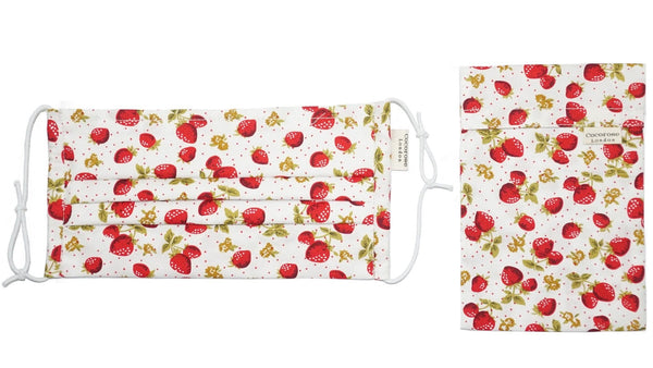 Pleated Cotton Face Mask with Nose Wire and Matching Pouch - Strawberries