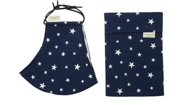 Cotton Face Mask with Filter Pocket and Pouch - Navy with Stars Cocorose London