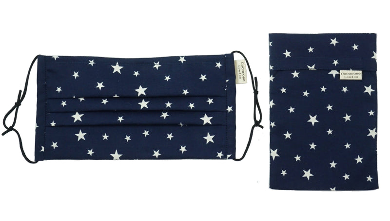 Pleated Cotton Face Mask with Nose Wire and Matching Pouch - Navy with Stars Cocorose London