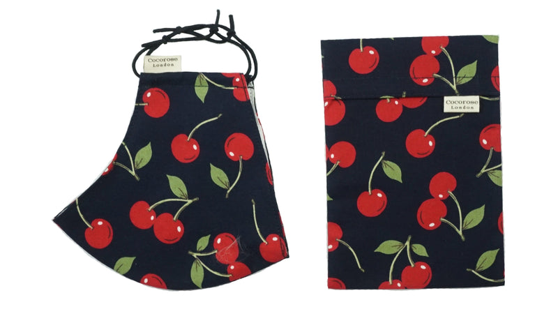 Cotton Face Mask with Filter Pocket and Pouch - Cherries