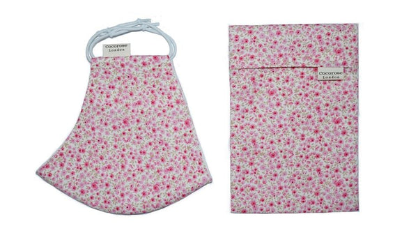 Cotton Face Mask with Filter Pocket and Pouch - Sara Rose