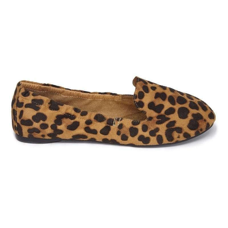 Womens foldable Ballet Pump in leopard