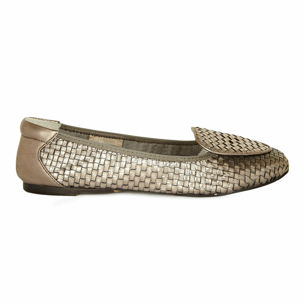 Clapham - Pewter Woven Leather Designer Loafers - Leather Shoes