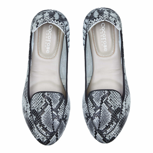Clapham - Grey Snakeprint Leather Loafers