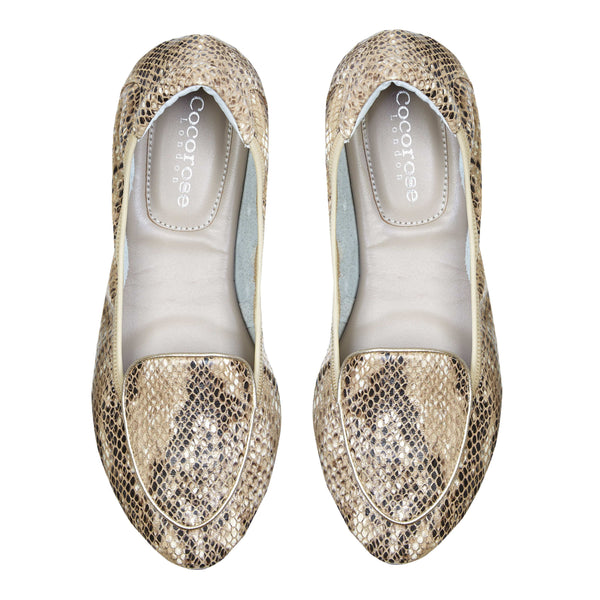 Clapham - Champagne Snakeprint Leather Loafers