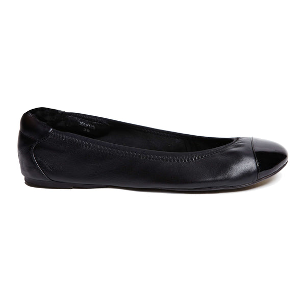 Harrow - Black with Black Cap Ballerinas