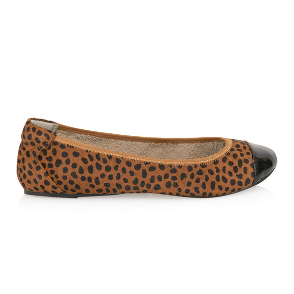Harrow - Leopard Pony Hair with Black Cap Ballerinas