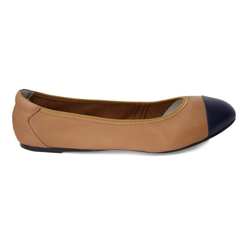 Harrow - Tan with Navy Cap Ballerinas