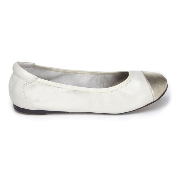 Harrow - White with Gold Cap Ballerinas