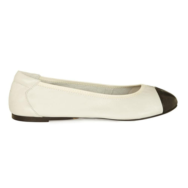 Harrow - White with Black Cap Ballerinas