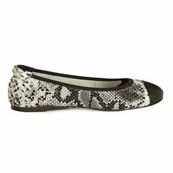 Harrow - Grey Snakeprint with Black Cap Ballerinas